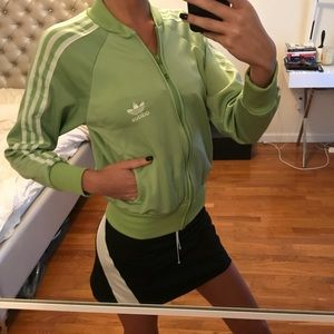 Adidas light green zip up hoodie